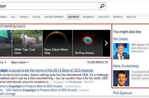 Bing news search now shows related topics and personalities