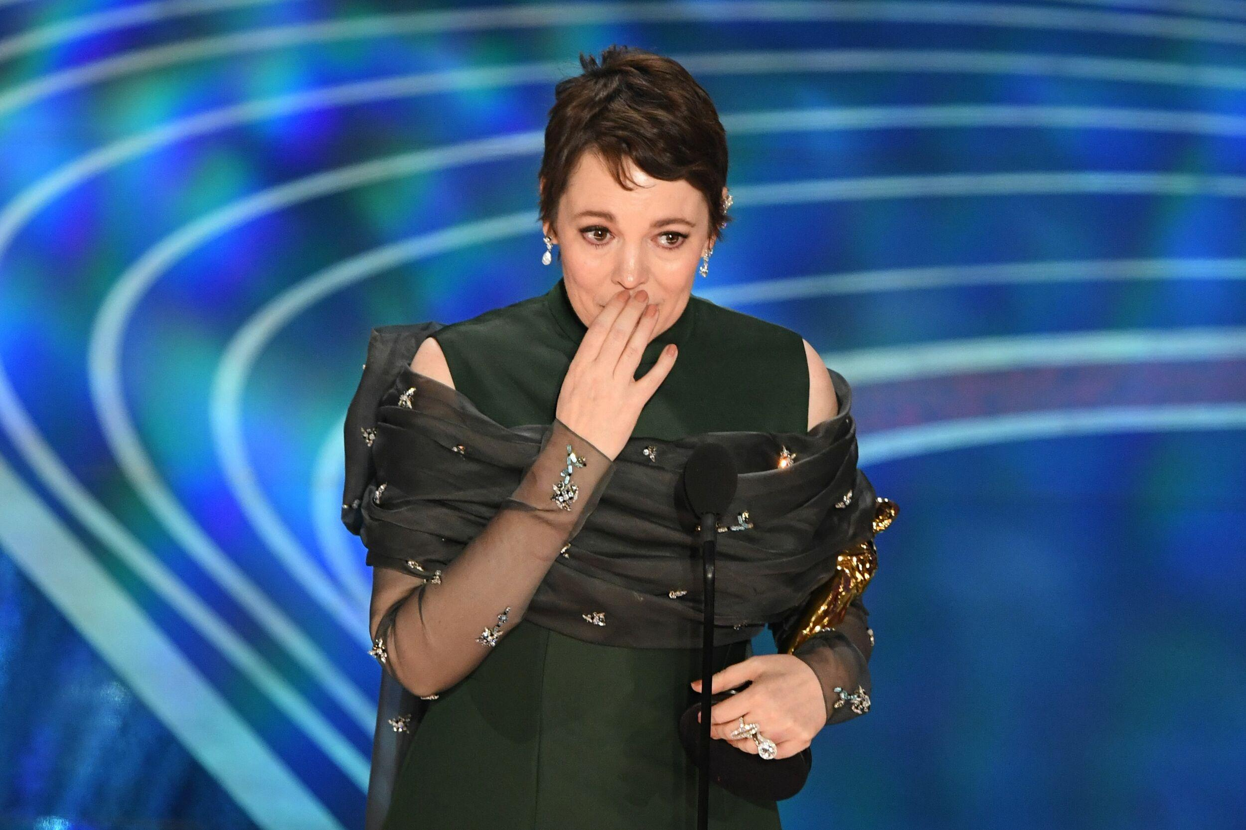 Best Actress nominee for 'The Favourite' Olivia Colman accepts the award for Best Actress during the 91st Annual Academy Awards at the Dolby Theatre in Hollywood, California on February 24, 2019. (Photo by VALERIE MACON / AFP)        (Photo credit should read VALERIE MACON/AFP/Getty Images)