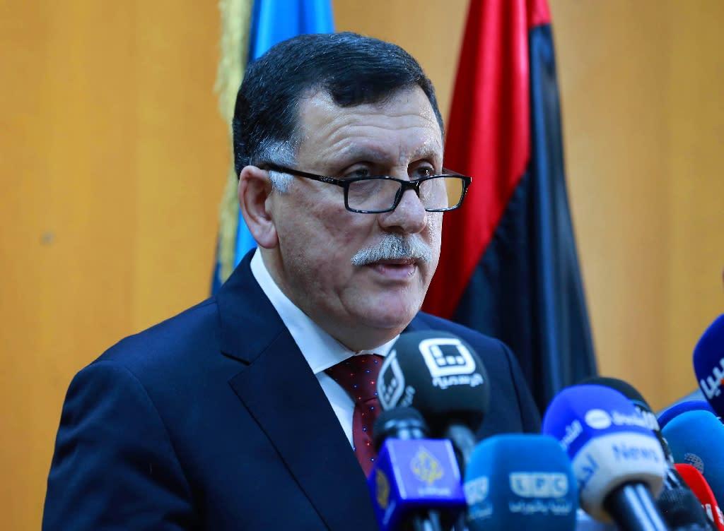 Libya's UN-backed Prime Minister-designate, Fayez al-Sarraj speaks during a press conference in the capital Tripoli on March 30, 2016 (AFP Photo/STRINGER)