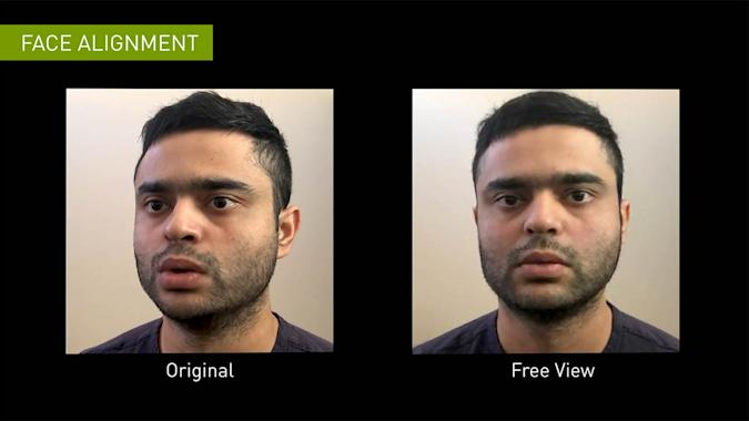 The face alignment feature in the NVIDIA Maxine platform.