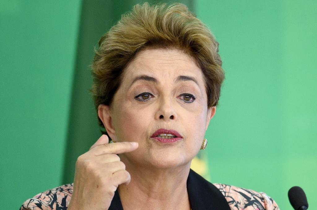 Brazilian President Dilma Rousseff speaks during a news conference at Planalto Palace in Brasilia on April 19, 2016