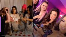 Ex-BBBs Bianca, Flay e Marcela fazem festa