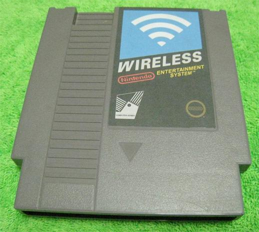 NES cartridge repurposed as wireless router, exterior sticker and all