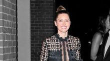 Jessica Biel Stuns in Sheer Self-Portrait Shirt During Post-Baby Appearance