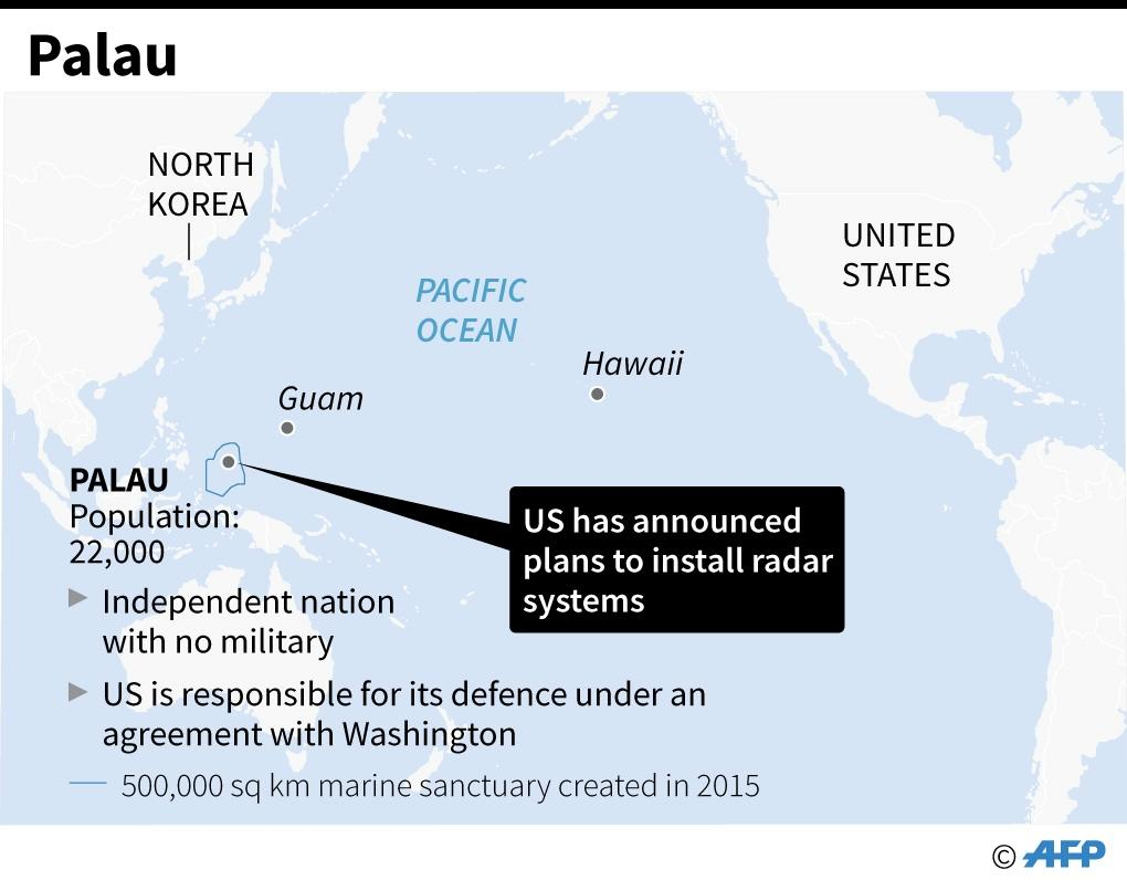 Map locating Palau in the Pacific region, where the US military plans to install radar systems (AFP Photo/Gal ROMA)