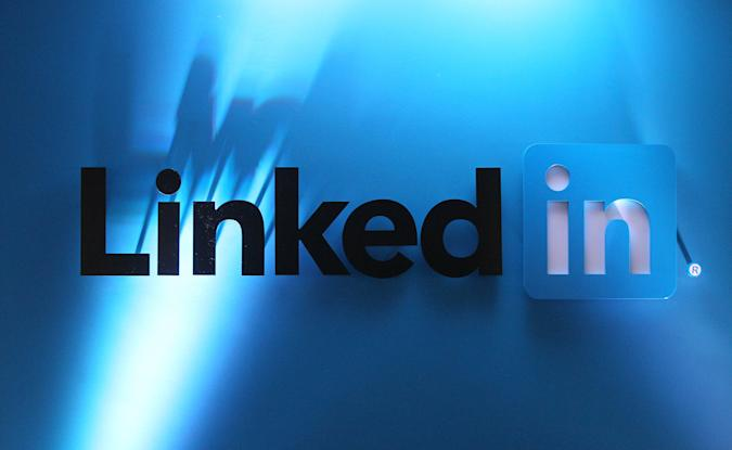 LinkedIn Logos in LinkedIn's offices in Gardner House, Wilton Place.   (Photo by Niall Carson/PA Images via Getty Images)