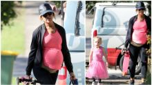 Pregnant Carrie Bickmore shows off her baby bump as she begins maternity leave