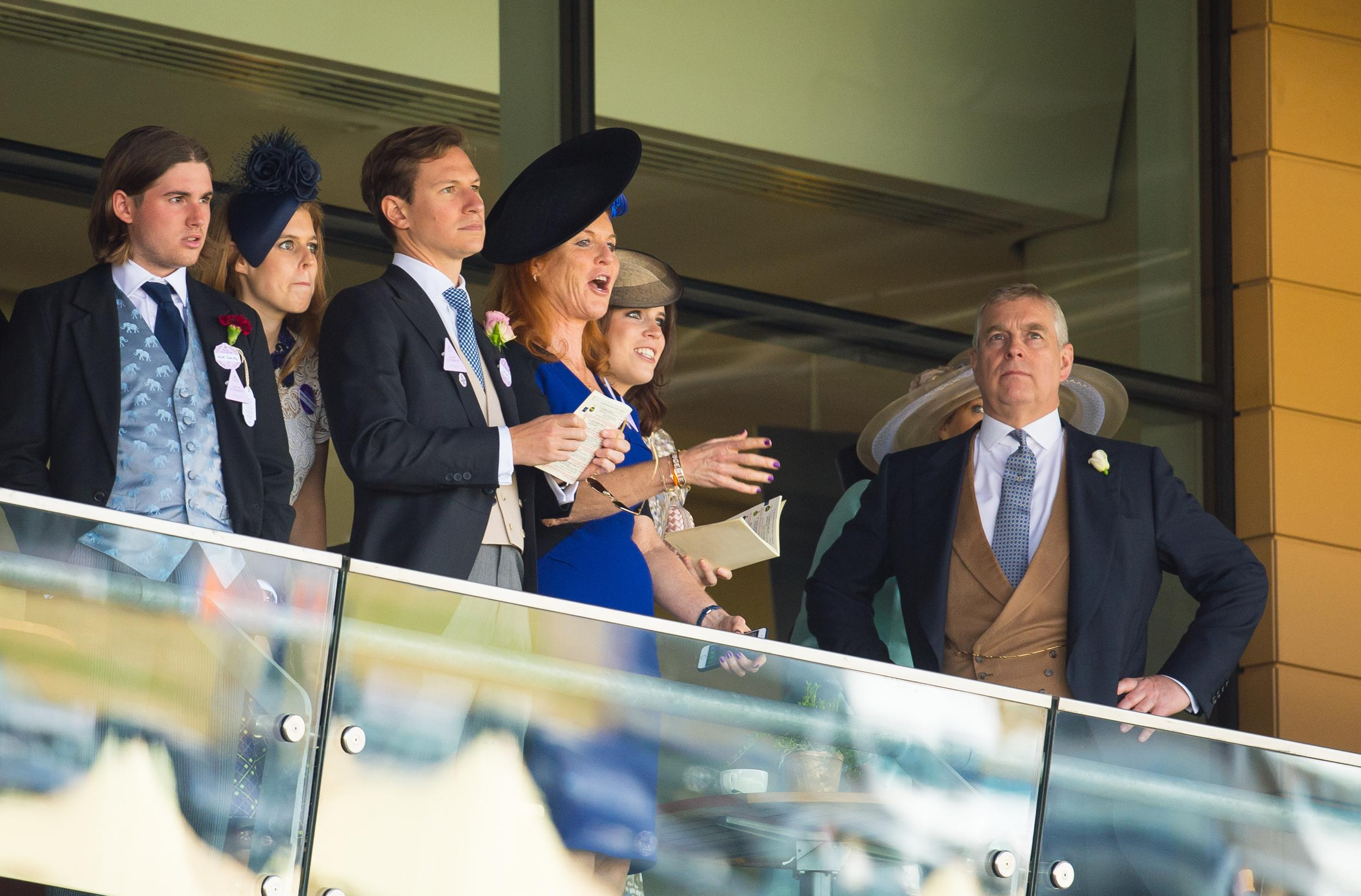 Princess Beatrice of York (second left) Sarah Ferguson (centre), Princess Eugenie of York (second from right) and Prince Andrew, Duke of York (right) during day four of the 2015 Royal Ascot Meeting at Ascot Racecourse, Berkshire.