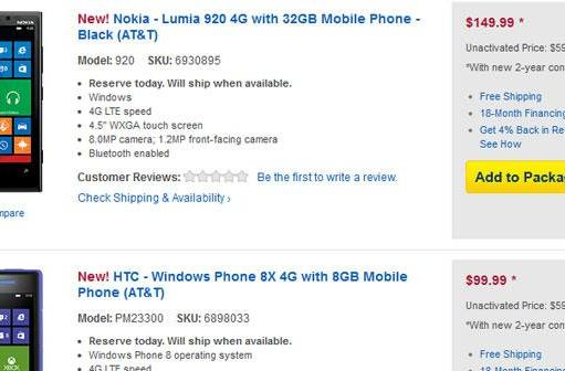 Best Buy offering pre-orders for Nokia Lumia 920 and HTC 8X for $149.99 and $99.99 under contract (Update: Lumia 920 no longer listed)