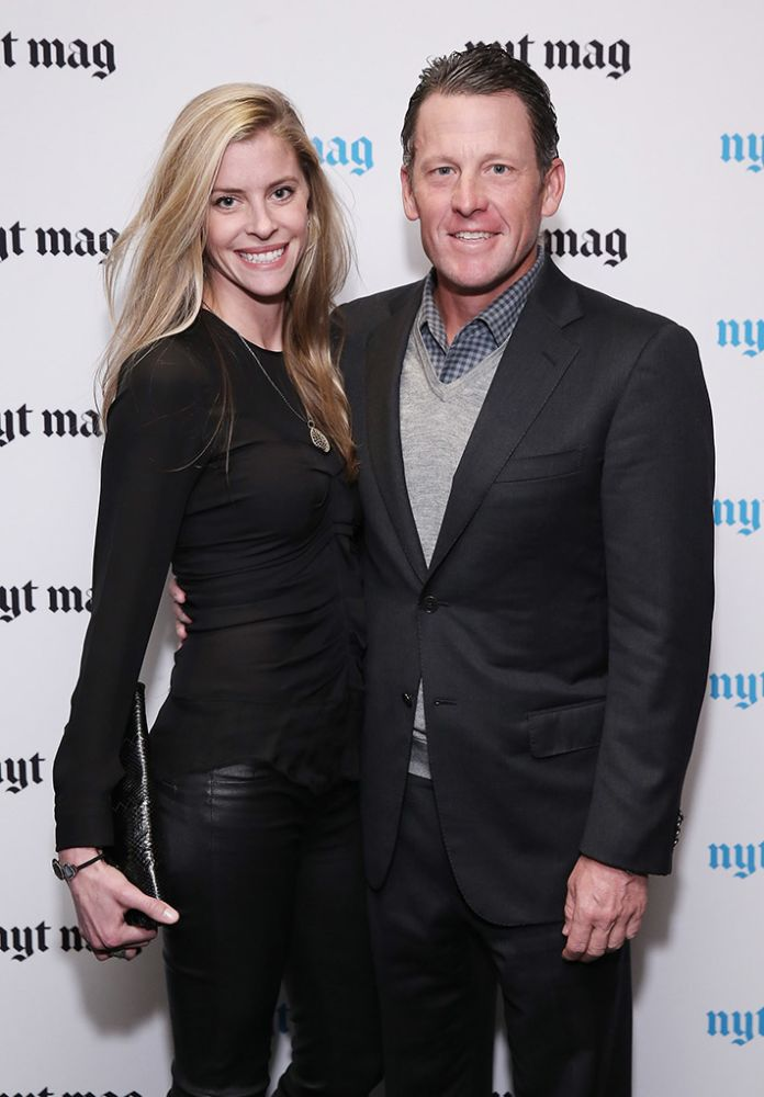 NEW YORK, NY - FEBRUARY 18: Anna Hansen and professional cyclist Lance Armstrong attend The New York Times Magazine Relaunch Event on February 18, 2015 in New York City.