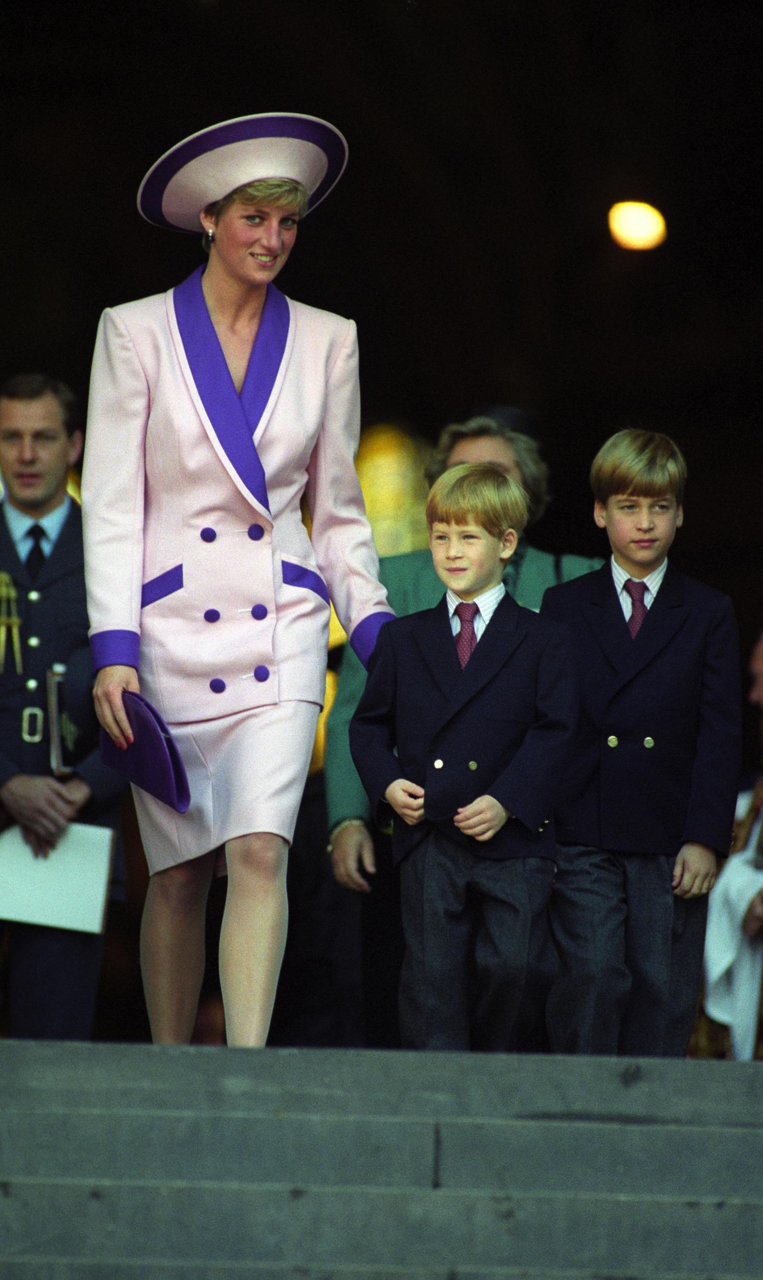 Diana, The Princess of Wales, accompanied by her children, Prince William (r) and Prince Harry, attend a service at St Paul's Cathedral to commemorate the 50th anniversary of the Blitz.   (Photo by Rebecca Naden - PA Images/PA Images via Getty Images)