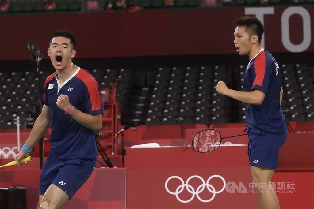 東京奧運羽球男雙「麟洋配」為台灣奪金 直落2橫掃大陸雙塔