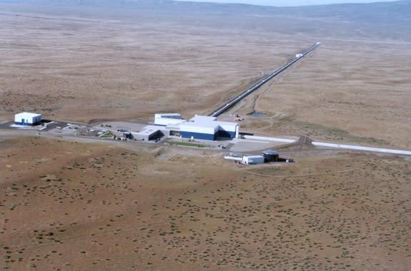 A 2005 picture of the Laser Interferometer Gravitational-Wave Observatory (LIGO) Hanford facility near Richland, Wash.