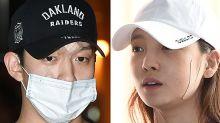 韓國女藝人 具荷拉與前男友崔某一起到警局接受調查