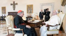 Pope warmly greets redeemed Cardinal Pell after abuse trial