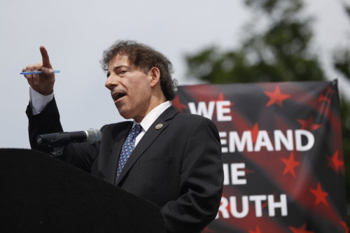 "Rep. Jamie Raskin, D-Md., speaks at the ""March for Truth"" protest in Washington, D.C."