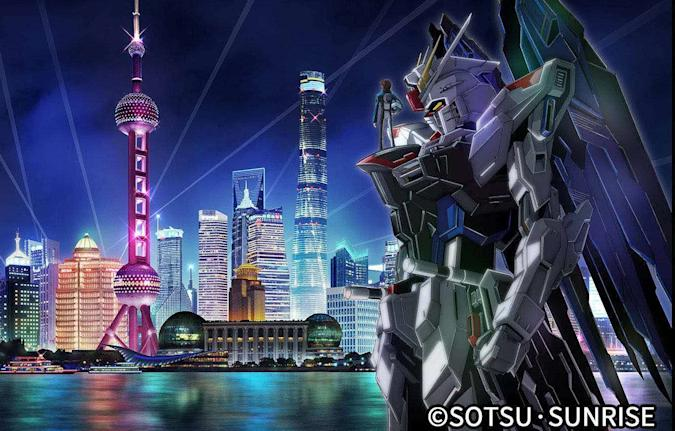 Life-size Freedom Gundam statue in front of Shanghai