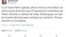 Críticas en las redes a Pedro Sánchez por rechazar todas las ofertas de Podemos