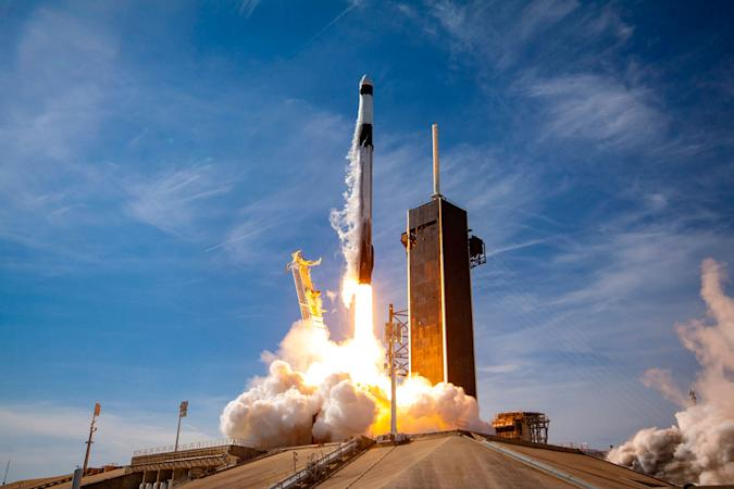 SpaceX Falcon 9 rocket liftoff during CRS-21 mission
