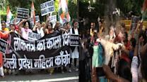 Mahila Congress wing stage protest against suspension of MPs in LS