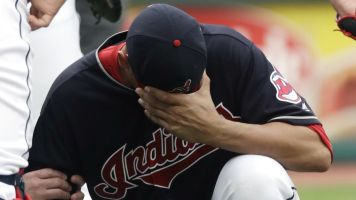 Indians pitcher hit by comebacker for 3rd time