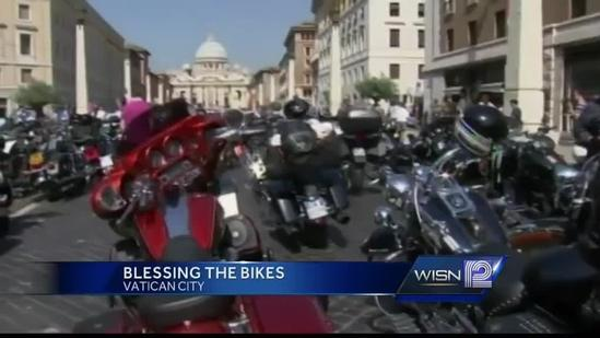 Harley riders gather at Vatican for blessing of the bikes
