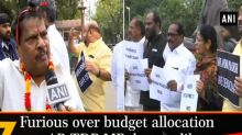 Furious over budget allocation to AP, TDP MP dresses like 'Narad Muni'