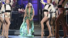 Jennifer Lopez Hosted 'SNL' in Her Iconic Versace Palm-Print Gown