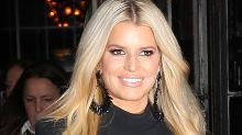 Jessica Simpson Elevates Her Sweatpants & Cropped Hoodie in 5-Inch Plaid Booties