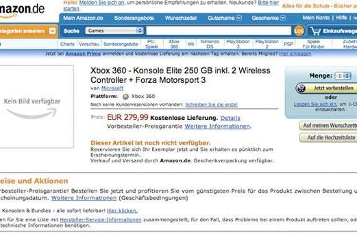 Amazon Germany lists Xbox 360 with 250GB HDD, Forza 3, two wireless controllers, for €280