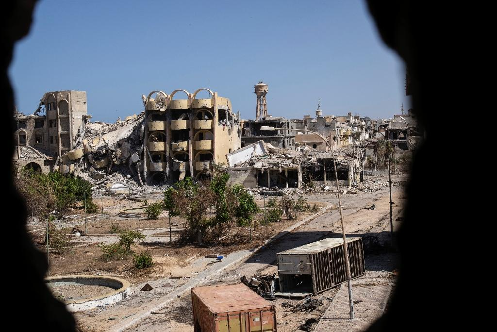 Destroyed buildings in the District 3 neighbourhood of Sirte on September 29, 2016