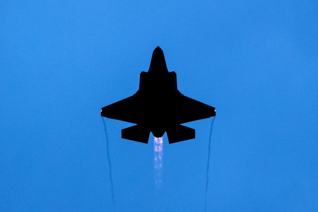 An F-35 performs during an air show