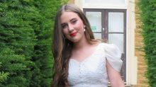 Thrifty teen wears her mum's wedding dress to formal