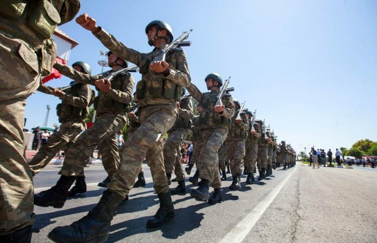 Turkish troops parade in July 2019 in the northern part of Nicosia in Cyprus, where the United States plans to start military training of the Republic of Cyprus forces