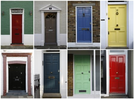 FILE PHOTO: A combination of eight photographs shows eight separate house doors in London