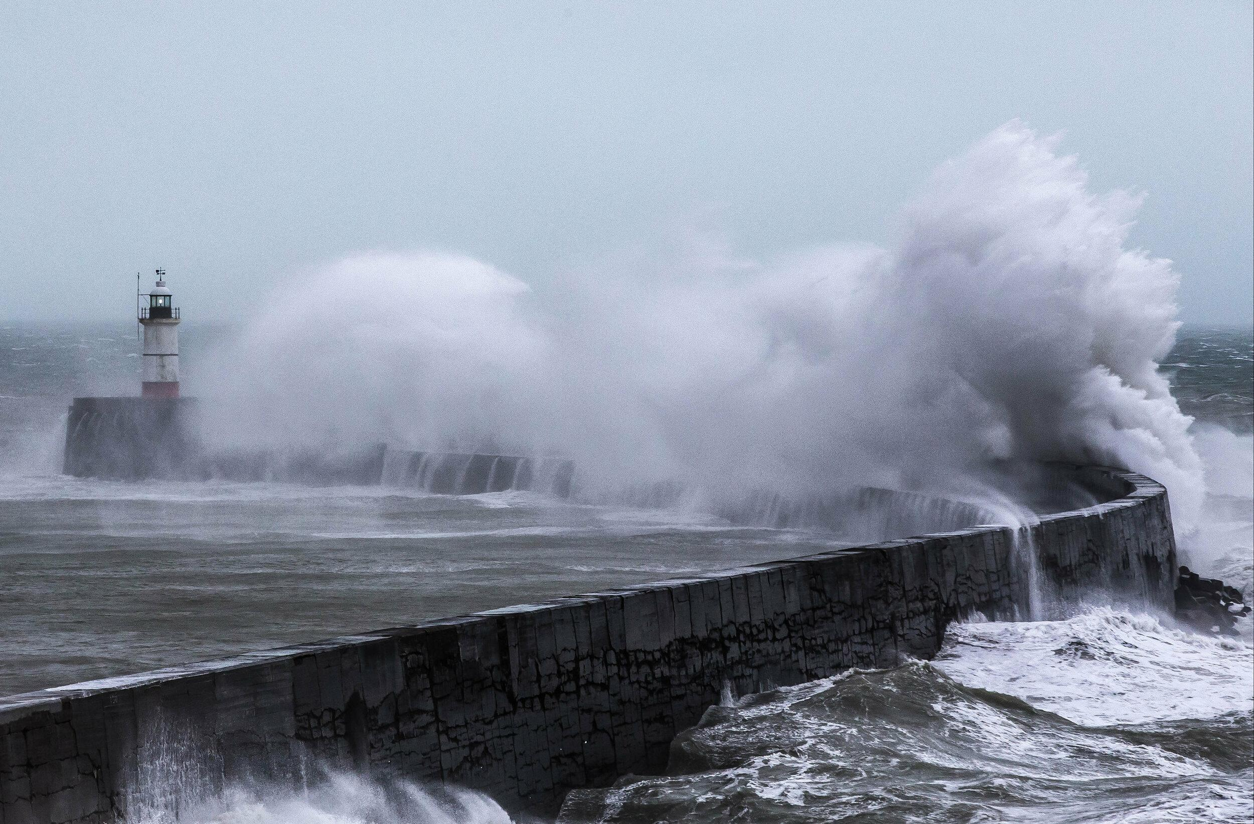 Storm Erik creates large waves and rough seas at Newhaven, East Sussex