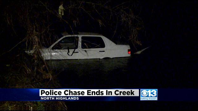 Vehicle, Police Car Land In Arcade Creek During Chase