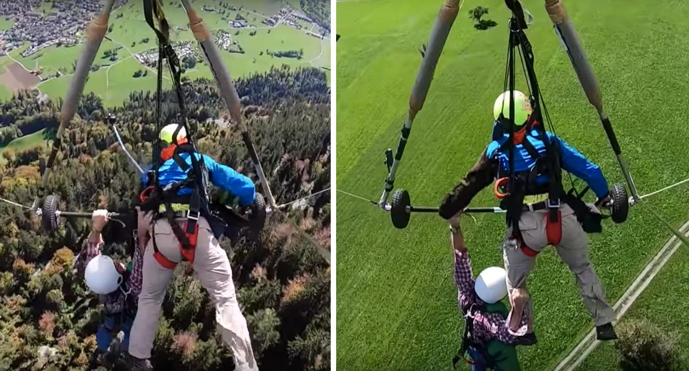 Hang glider clings on for life after harness mix-up in Swiss Alps