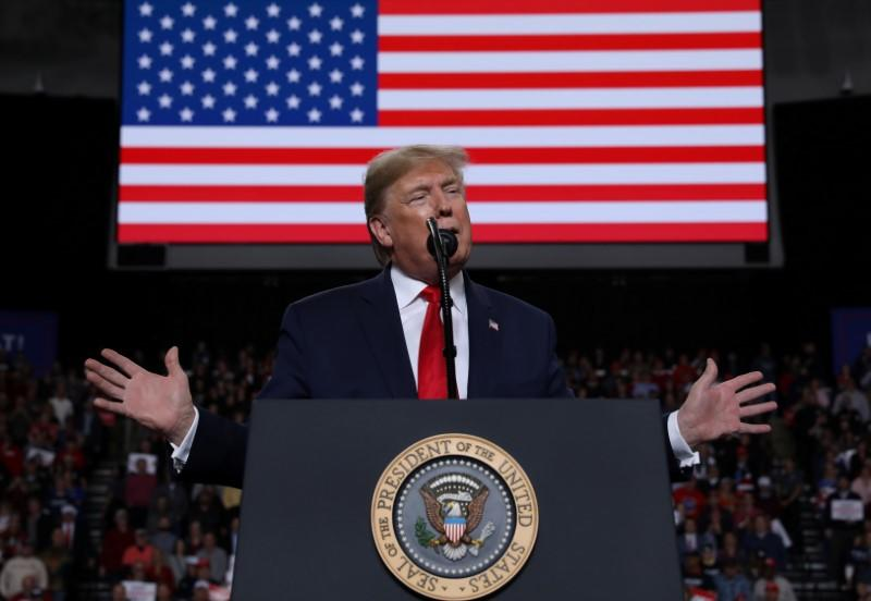 U.S. President Donald Trump holds a campaign rally in Toledo