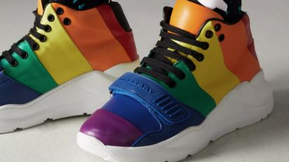 London Fashion Week Looks We Love: Burberry's Rainbow Trainers