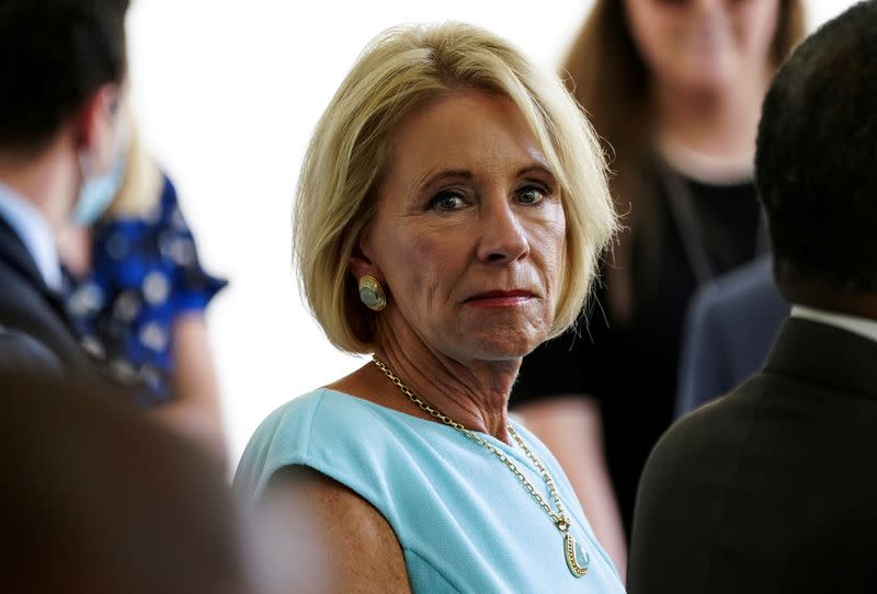 FILE PHOTO: Education Secretary Devos attends signing ceremony at the White House in Washington
