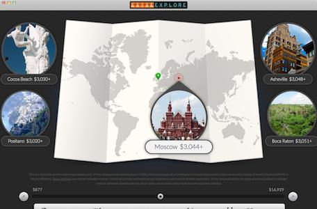 Browse vacation spots with Kayak Explore for Mac
