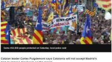 西班牙接管加泰隆尼亞 巴塞隆納45萬人上街抗議