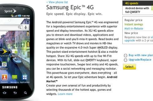 Samsung Epic 4G now on sale at Sprint (update: save $50 at Amazon)