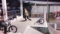 BMXer Crashes onto His Head without a Helmet