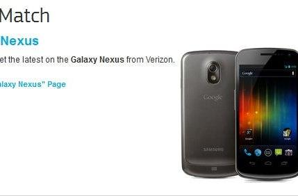 Samsung Galaxy Nexus leaks on official site, flashes Verizon affiliation