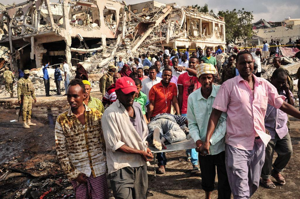 <p>Al-Shabab are yet to comment on the attack. Prime Minister Hassan Ali Khaire said, 'They don't care about the lives of Somali people, mothers, fathers and children.<br>'They have targeted the most populated area in Mogadishu, killing only civilians.' (Getty) </p>