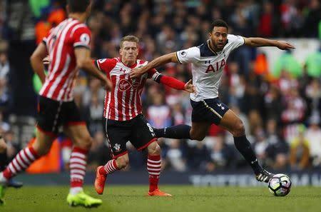 Tottenham's Mousa Dembele in action with Southampton's Steven Davis