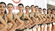 Women in China Compete for Flight Attendant Jobs in Bikinis