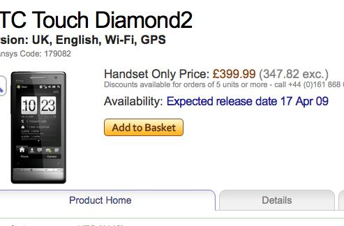 HTC's Touch Diamond2 gets a little more real with date and price on eXpansys UK